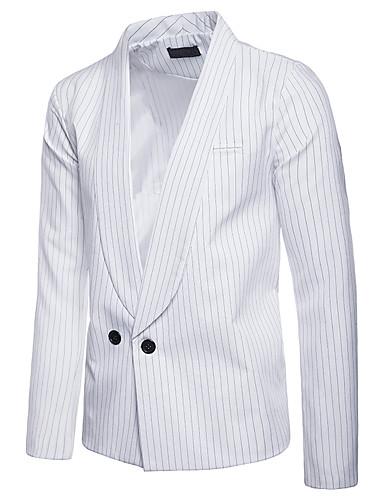 levne Pánské módní oblečení-Pánské Blejzr Šálové klopy Polyester Černá / Bílá