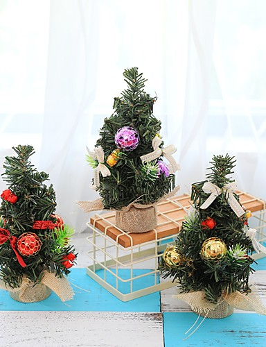 billige Juletrær & kranser-3stk juletre 22cm nyttårs borddekorasjon mini juletre dekorasjonstre