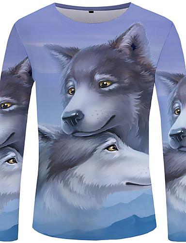 voordelige Heren T-shirts & tanktops-Heren Street chic / overdreven T-shirt Effen / Kleurenblok / dier Licht Blauw