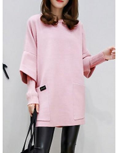 cheap Women's Hoodies & Sweatshirts-Women's Casual Sweatshirt - Solid Colored Blushing Pink M