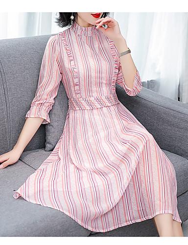 voordelige Grote maten jurken-Dames Street chic Elegant A-lijn Jurk - Gestreept, Patchwork Midi