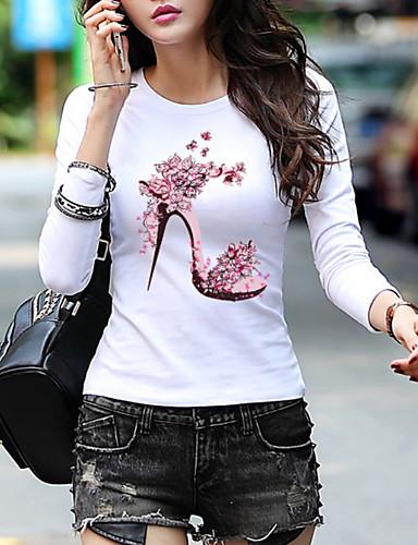 billige Dametopper-T-skjorte Dame - Geometrisk Grunnleggende Hvit