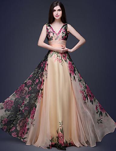 levne Maxi šaty-Dámské Cikánský Elegantní Swing Šaty - Květinový, Plisé Tisk Maxi