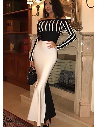 levne Maxi šaty-Dámské Základní A Line Šaty - Proužky Maxi