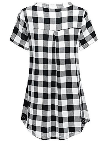 billige Dametopper-T-skjorte Dame - Rutet, Lapper Grunnleggende BLå & Hvit / Svart og hvit Svart