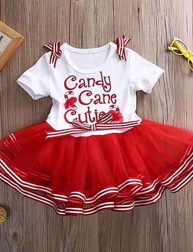 preiswerte Kindermode-Kinder Mädchen Buchstabe Weihnachten Kleid Rote