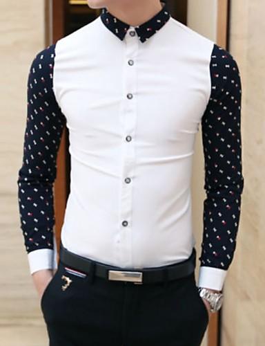 levne Pánské košile-Pánské - Puntíky Košile Černá