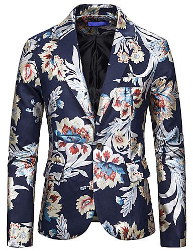 voordelige Herenblazers & kostuums-Heren Blazer, Bloemen Ingesneden revers Rayon / Polyester / Spandex Zwart / Wit / Marineblauw