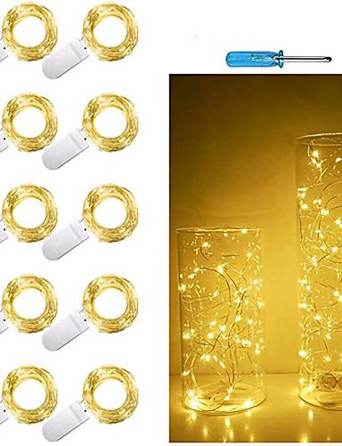 preiswerte LED-Lichter-10 stücke 1 mt 10 led lichterketten cr2032 batteriebetriebene led kupferdraht lichterketten für weihnachten girlande party hochzeit dekoration