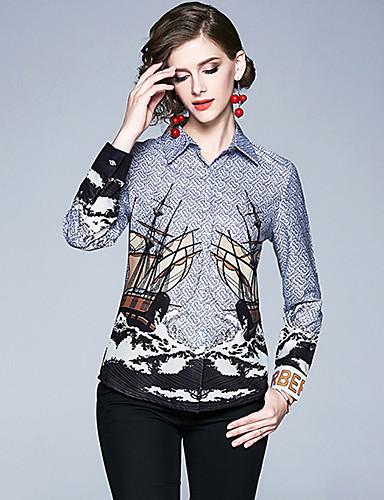 billige Skjorter til damer-Skjorte Dame - Grafisk, Trykt mønster Vintage / Elegant Blå