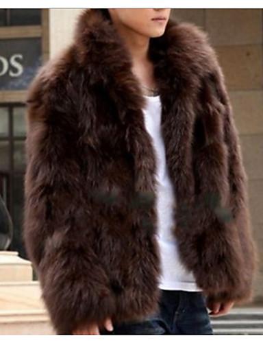 levne Pánská saka a kabáty-Pánské Denní Standardní Kožich, Jednobarevné Kolopy do špičky Dlouhý rukáv Polyester Hnědá