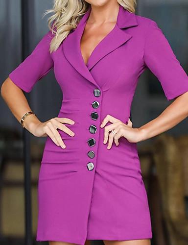 levne Pracovní šaty-Dámské Základní Pouzdro Šaty - Jednobarevné Nad kolena