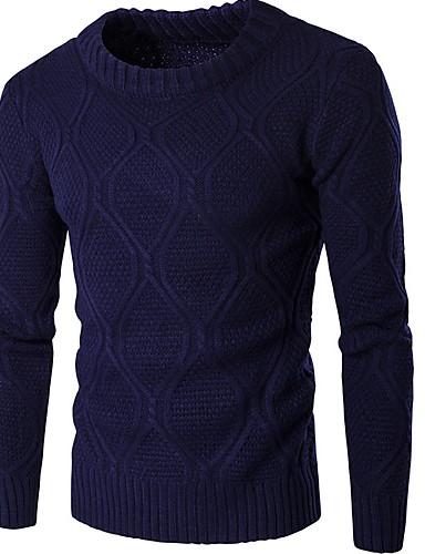 Férfi Egyszínű Hosszú ujj Pulóver Pulóver jumper, Kerek Fekete / Bor / Tengerészkék US32 / UK32 / EU40 / US34 / UK34 / EU42