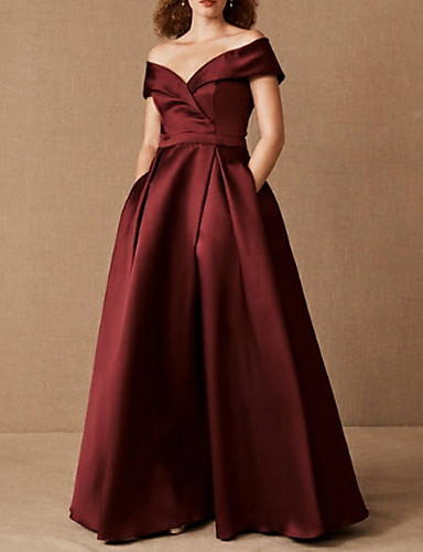 cheap Plus Size Dresses-A-Line Plus Size Red Prom Formal Evening Dress Off Shoulder Short Sleeve Floor Length Satin with Pleats Ruched 2020