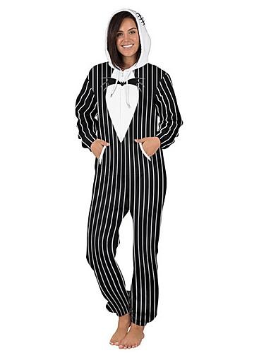 billige Jumpsuits og sparkebukser til damer-Dame Grunnleggende Svart Hvit Blå Kjeledresser, Stripet S M L