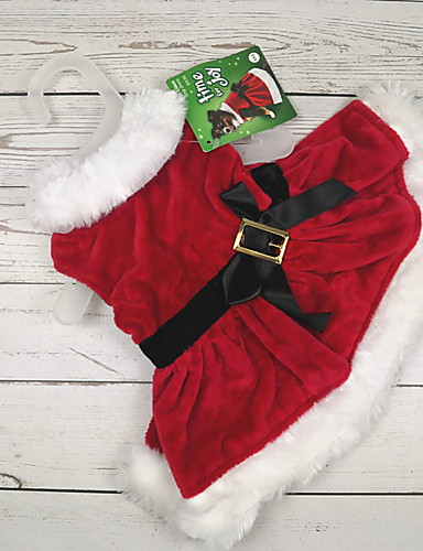 رخيصةأون وصل حديثاً-كلاب قطط حيوانات أليفة ازياء تنكرية الفساتين الشتاء ملابس الكلاب أحمر كوستيوم بوليستر لون سادة ببيونة الكوسبلاي عيد الميلاد XXS XS S M L
