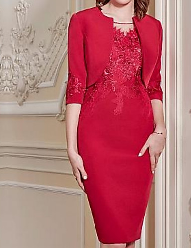 cheap Christmas Deals-Sheath / Column / Two Piece Jewel Neck Knee Length Polyester Mother of the Bride Dress with Appliques / Ruching by LAN TING Express