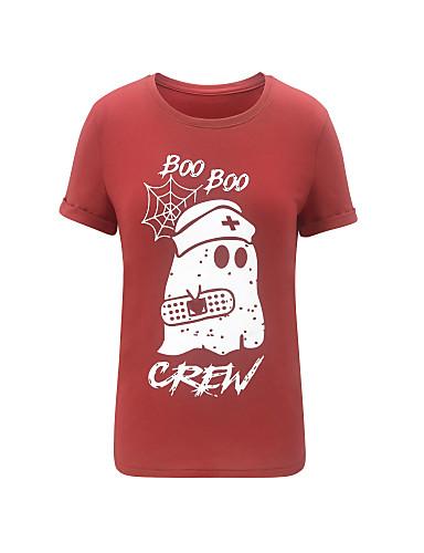 billige Dametopper-T-skjorte Dame - Grafisk, Trykt mønster Grunnleggende Rød