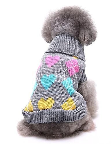 preiswerte Spielzeug & Hobby Artikel-Hunde Pullover Winter Hundekleidung Schwarz Grau Kostüm Corgi Beagle Shiba Inu Acrylfasern Liebe Lässig / Alltäglich XS S M L XL XXL