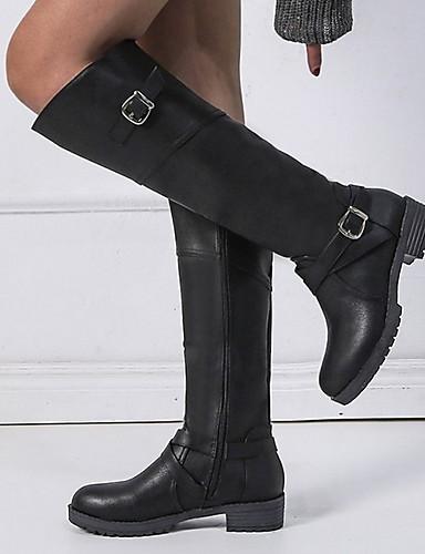 cheap 11.11 - Women's Boots Top Seller-Women's Boots Knee High Boots Flat Heel Round Toe PU Knee High Boots Winter Black / Dark Brown / Green