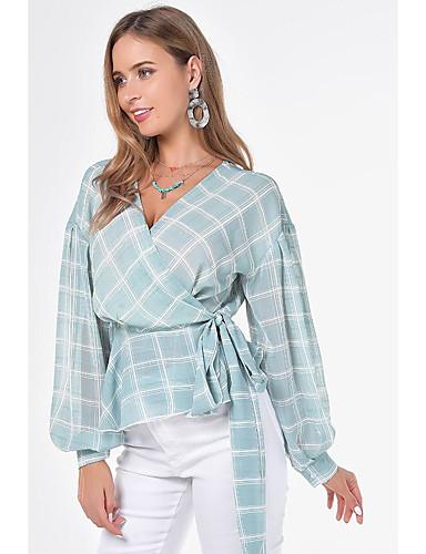 billige Bluser-Bluse Dame - Ruter, Åpen rygg / Blondér / Trykt mønster Grunnleggende Lyseblå