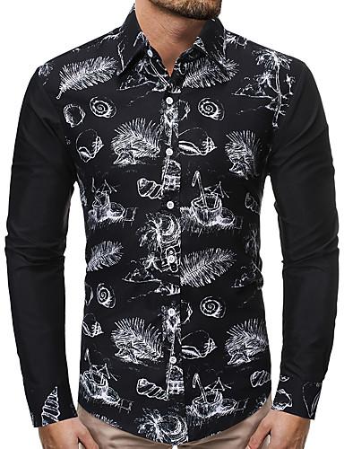 levne Pánské košile-Pánské - Barevné bloky Business / Základní Košile, Tisk Černá