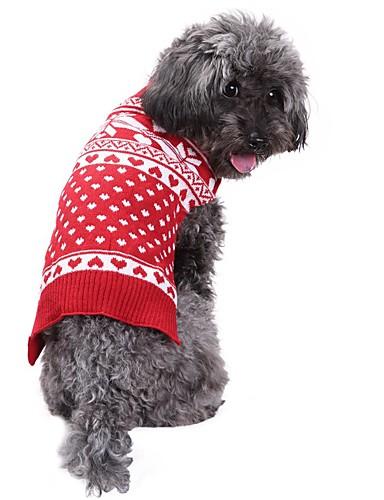 preiswerte Spielzeug & Hobby Artikel-Hunde Pullover Winter Hundekleidung Rot Kostüm Corgi Beagle Shiba Inu Acrylfasern Schneeflocke Weihnachten XXS XS S M