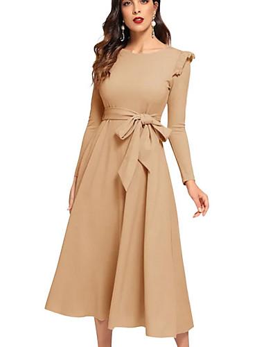 levne Maxi šaty-Dámské A Line Šaty - Jednobarevné Midi