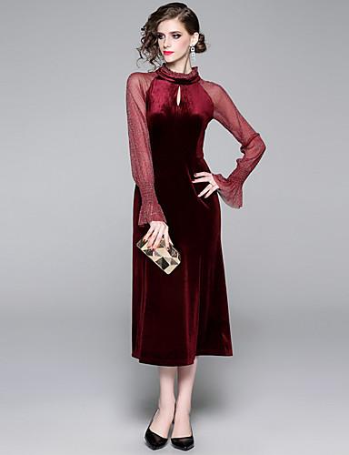 voordelige Maxi-jurken-Dames Elegant Schede Jurk - Effen, Cut Out Ruche Patchwork Midi Zwart