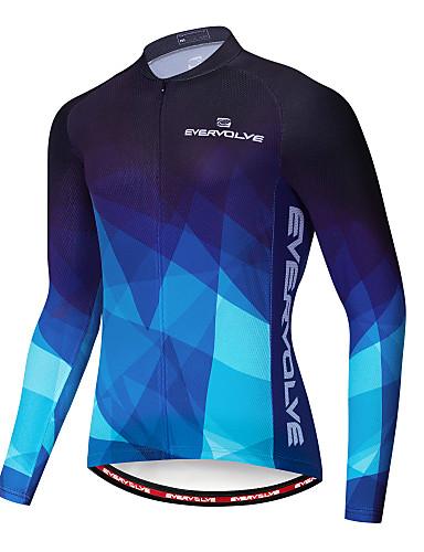 povoljno Biciklističke majice-Muškarci Dugih rukava Biciklistička majica Crvena Plava Bicikl Majice Brdski biciklizam biciklom na cesti Ovlaživanje Quick dry Izzadás-elvezető Sportski Terilen Likra Odjeća / Rastezljivo