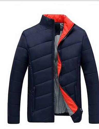 levne Pánské kabáty a parky-Pánské Jednobarevné S vycpávkou, Polyester Černá / Šedá US32 / UK32 / EU40 / US34 / UK34 / EU42