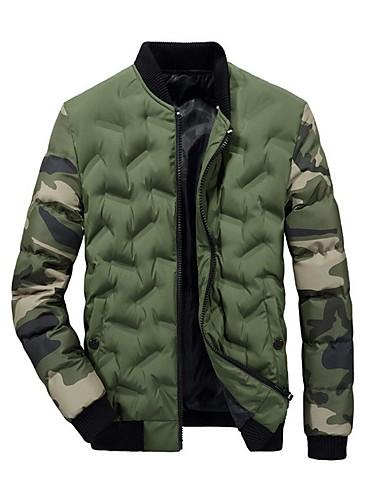 voordelige Heren donsjassen & parka's-Heren Camouflage Kleur Gewatteerd, Polyester Zwart / Klaver / Grijs US32 / UK32 / EU40 / US34 / UK34 / EU42