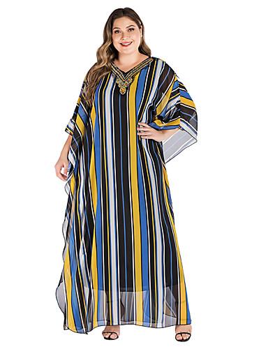levne Šaty velkých velikostí-Dámské Základní Elegantní Shift kaftan Šaty - Proužky, Tisk Maxi