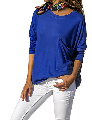 billige Dametopper-T-skjorte Dame - Ensfarget, Lapper Grunnleggende Svart / Hvit / Blå Svart