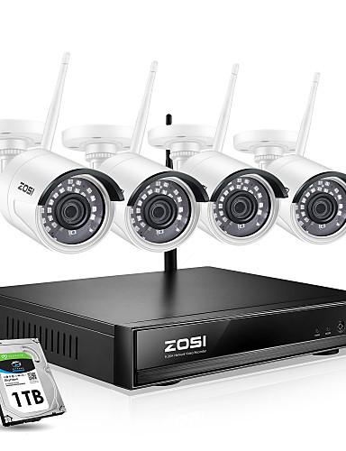 preiswerte Schutz & Sicherheit-zosi 8 ch 1080p h.265 kabelloses nvr Überwachungskamera-Kit mit 1080p kabelloser wetterfester pal / ntsc Tag-Nachtsicht-IP-Kamera-Heimsicherheitssystem