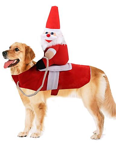 رخيصةأون وصل حديثاً-كلاب ازياء تنكرية الشتاء ملابس الكلاب أحمر الهالووين كوستيوم طفل كلب صغير بوليستر عيد الميلاد بابا نويل الكوسبلاي مضحك S M L XL / كلب كبير