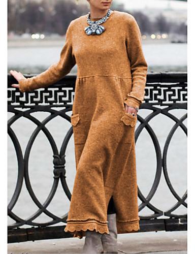 voordelige Maxi-jurken-Dames Breigoed Jurk - Effen Maxi