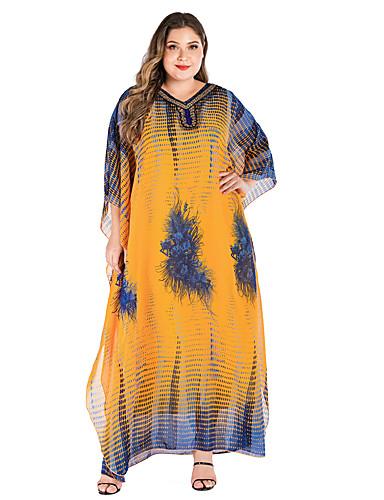 levne Šaty velkých velikostí-Dámské Základní Elegantní Shift kaftan Šaty - Geometrický, Tisk Maxi