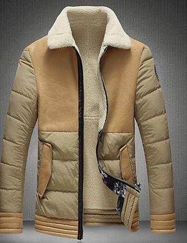 levne Pánské módní oblečení-Pánské Jednobarevné Parka, Polyester Černá / Khaki US32 / UK32 / EU40 / US34 / UK34 / EU42 / US36 / UK36 / EU44