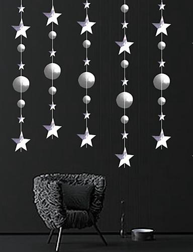 billige Juletrær & kranser-julepynt til hjemmet 4m glimt star snowflake papir kranser anheng dekor