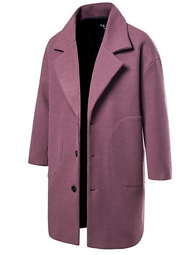 levne Pánská saka a kabáty-Pánské Denní EU / US velikost Dlouhé Kabát, Jednobarevné Přehnutý Dlouhý rukáv Polyester Černá / Fialová