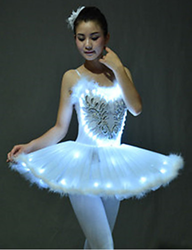 cheap Movie & TV Theme Costumes-Ballet Dancer Swan Lake LED Layered Dress Tutu Bubble Skirt Under Skirt Girls' Kid's Tulle Cotton Costume White / Purple / Green Vintage Cosplay Christmas Party Halloween Sleeveless Short Length