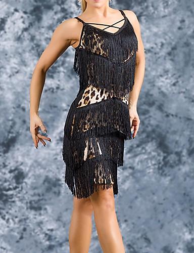 preiswerte Bestseller-Latein-Tanz Austattungen Damen Leistung Polyester Muster / Druck / Quaste Röcke / Top