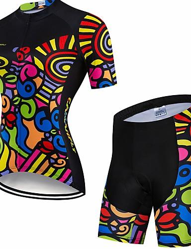 povoljno Odjeća za vožnju biciklom-CAWANFLY Muškarci Žene Kratkih rukava Biciklističke kratke hlače s jastučićima Biciklistička majica Biciklistička majica s kratkim hlačama Crn Bicikl Biciklistička majica Sportska odijela Pad 3D
