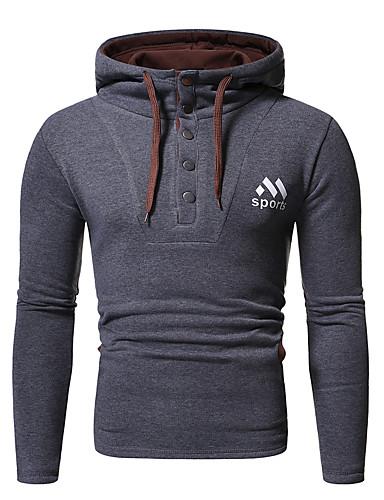 preiswerte Modische Herren-Pullover-Herrn Freizeit / Grundlegend Kapuzenshirt Solide / Buchstabe