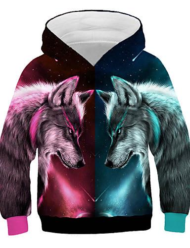 preiswerte Kinder Mode Kollektion Ausverkauf-Kinder Jungen Aktiv Street Schick Wolf Druck 3D Tier Druck Langarm Kapuzenpullover Regenbogen