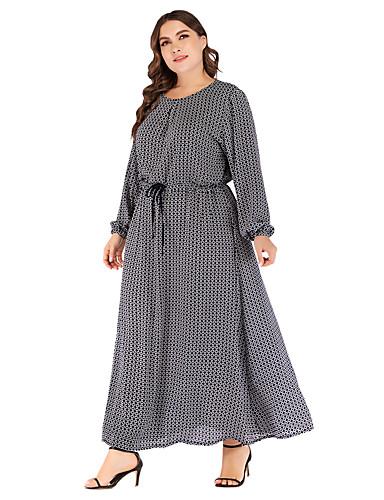 levne Maxi šaty-Dámské Základní Elegantní Shift Šifón Šaty - Puntíky, Šněrování Tisk Maxi