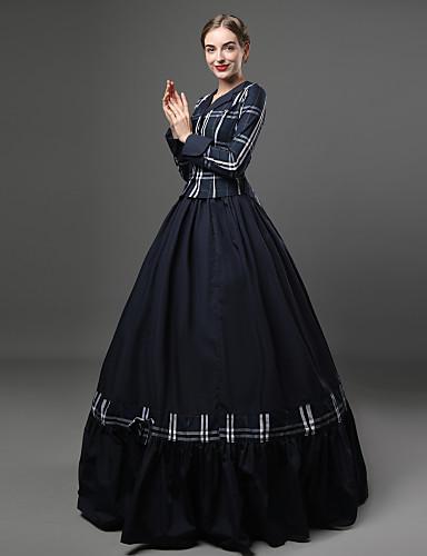 Rococo Viktoriánus 18. stoljeće Haljine Izgledi Žene Pamuk Kostim Plava Vintage Cosplay Party Prom Dugih rukava Do poda Dugi Duljina Krinolina Veći konfekcijski brojevi Prilagođeno