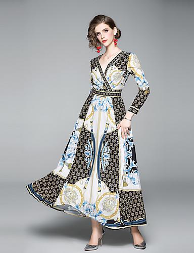 voordelige Maxi-jurken-Dames Elegant Wijd uitlopend Jurk - Ruitjes, Cut Out Print Maxi