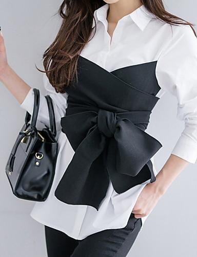 billige Skjorter til damer-Skjorte Dame - Stripet / Fargeblokk Grunnleggende Hvit